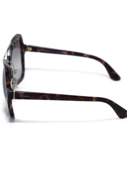 Prada Brown Tortoise Shell with Gold Trim Sunglasses | Prada