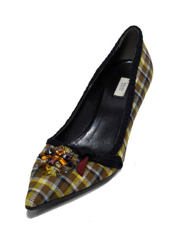Prada Brown Yellow Plaid Rhinestone Shoes 1