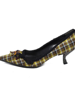 Prada Brown Yellow Plaid Rhinestone Shoes 2