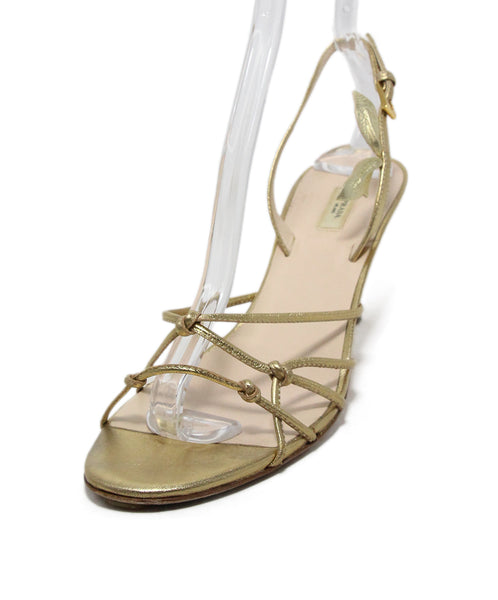 Prada Metallic Gold Leather Sandals 1