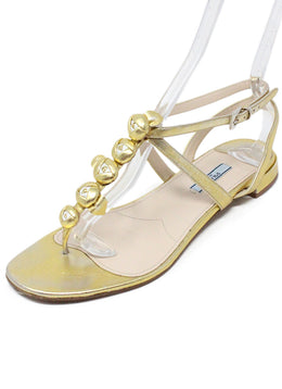 Prada Gold Plated Leather Sandals 1
