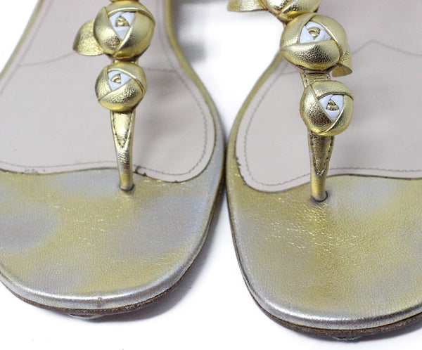 Prada Gold Plated Leather Sandals 6