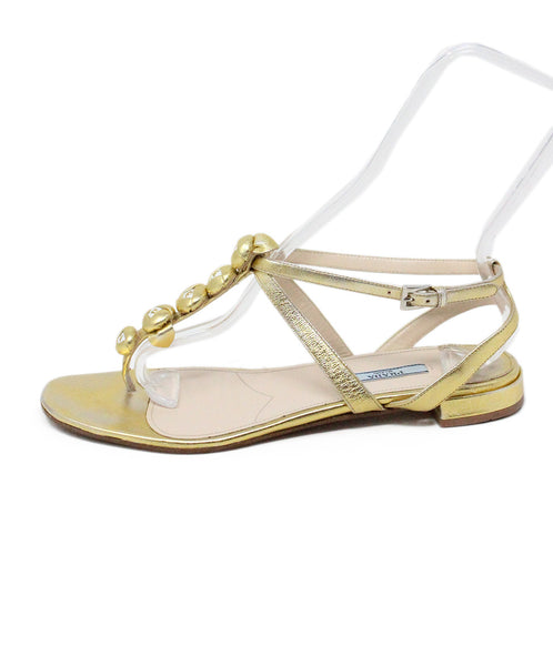 Prada Gold Plated Leather Sandals 2
