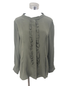 Prada Olive Green Silk Ruffle Top Sz 6