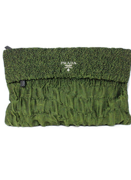 Prada Green Cloquet Clutch