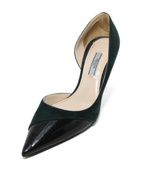 Prada green suede black trim heels 1