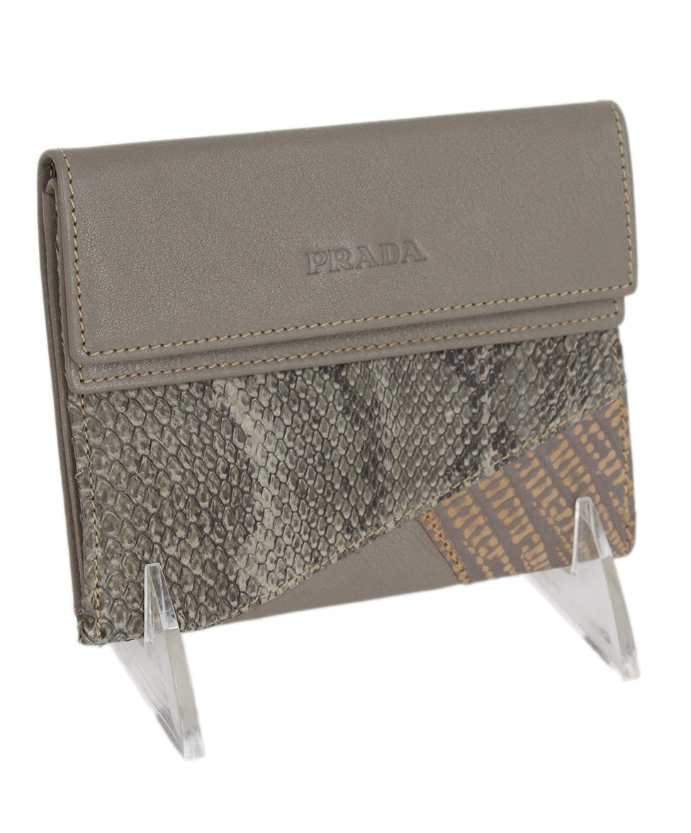 Prada grey taupe multi leather wallet 2