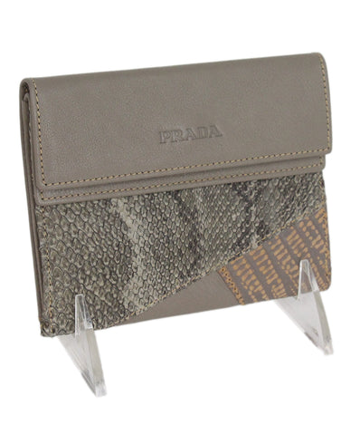 Prada grey taupe multi leather wallet 1