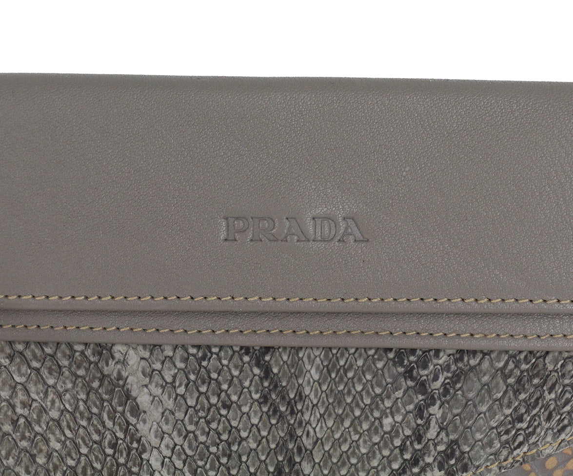 Prada grey taupe multi leather wallet 7