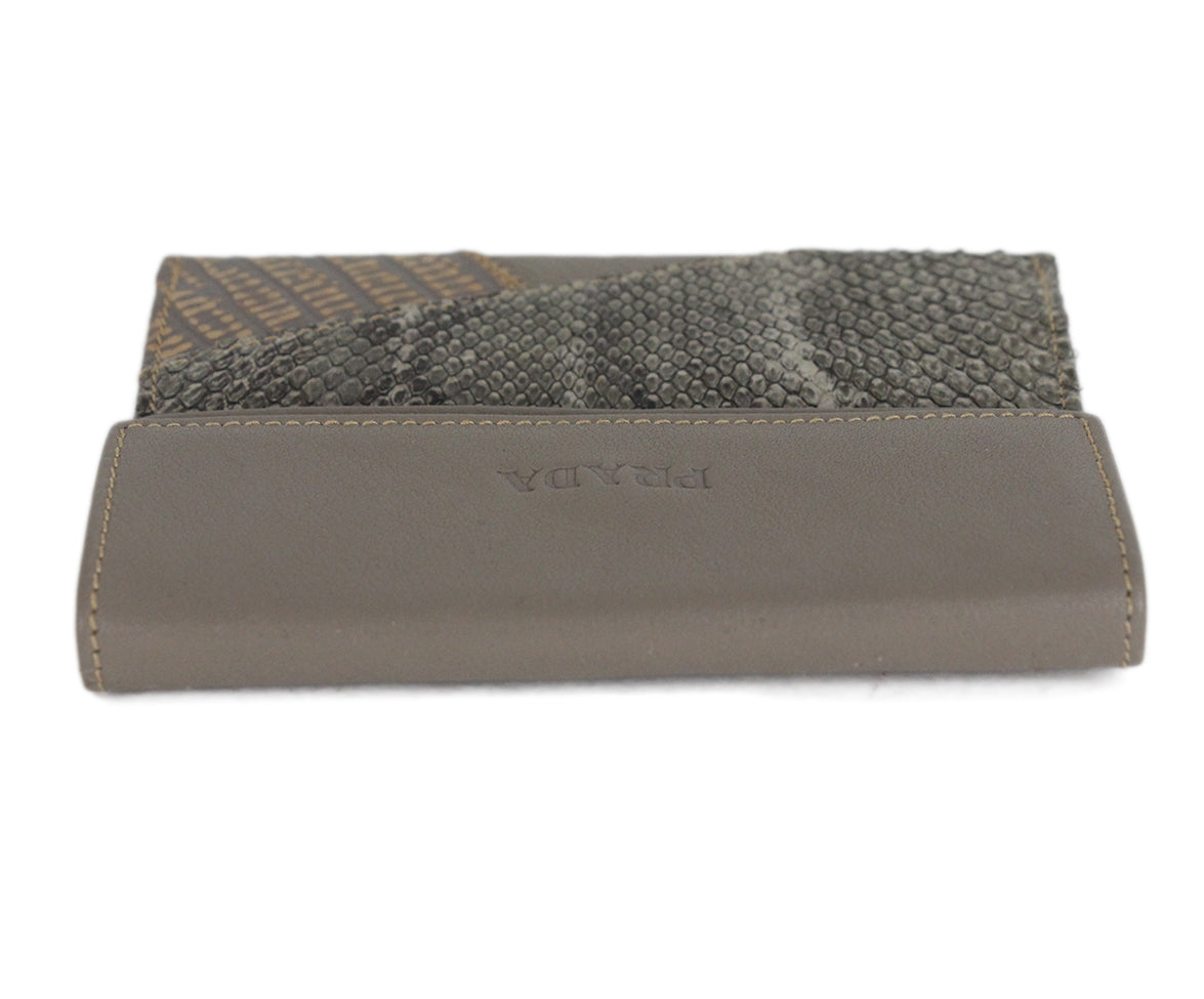 Prada grey taupe multi leather wallet 5