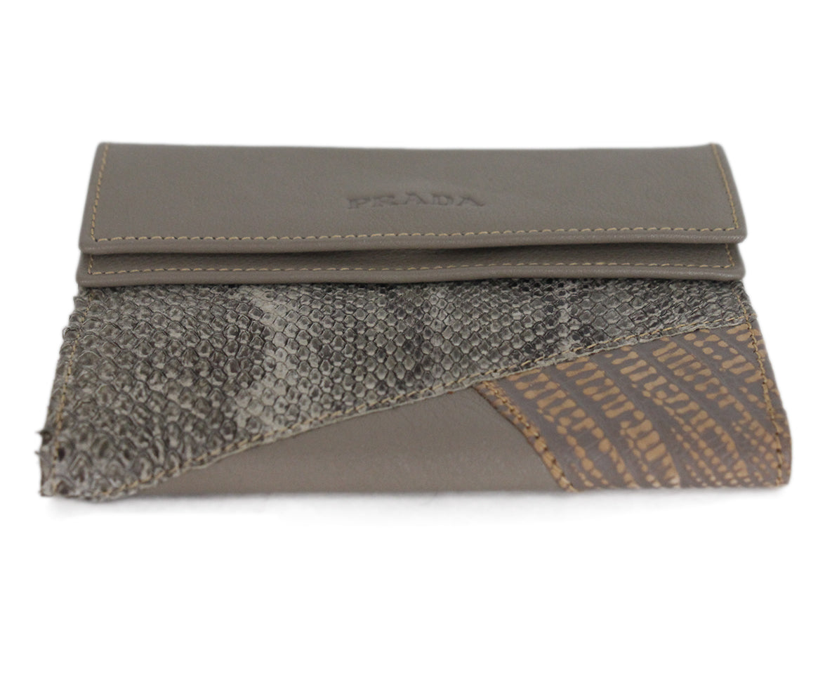 Prada grey taupe multi leather wallet 4