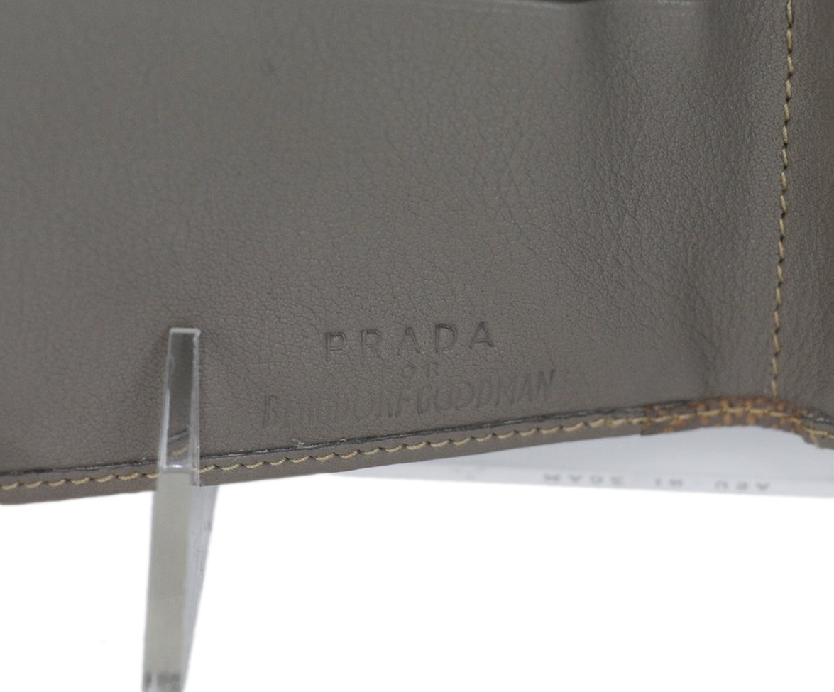Prada grey taupe multi leather wallet 8