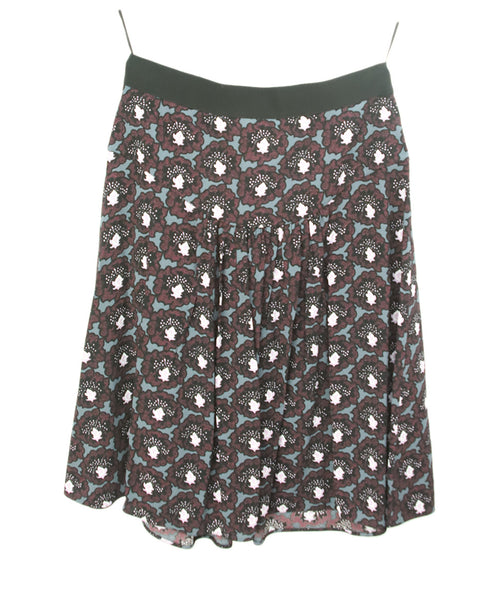 Prada Black Multi Print Skirt 1