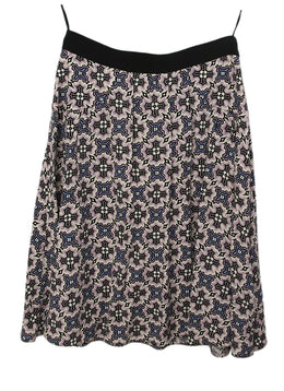 Prada Multi Purple White Print Skirt 1