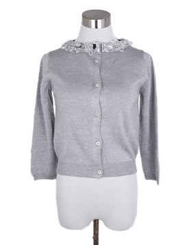 Prada Metallic Silver Silk Lurex Rhinestones Trim Sweater 3