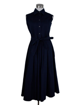 Prada Navy Cotton Sleeveless Dress 1