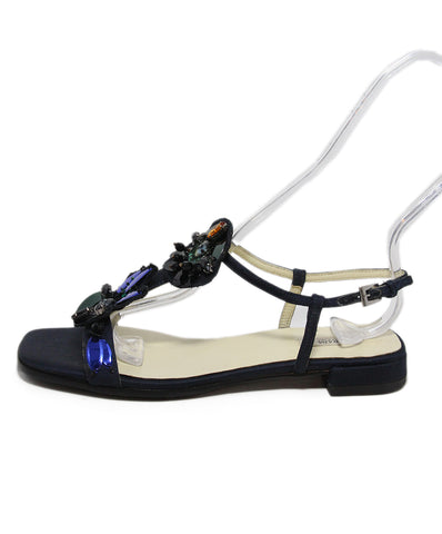 Prada navy silk rhinestone trim sandals 1