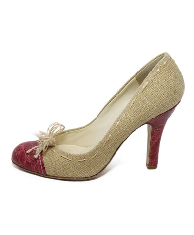 Prada Neutral Linen Red Leather Heels 1