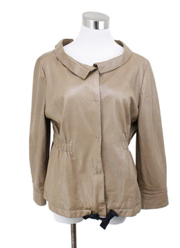 Prada Nude Leather Jacket Sz 8