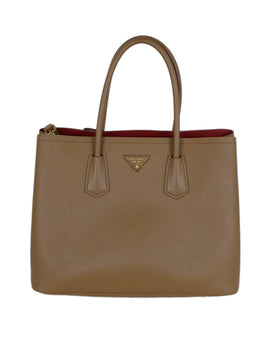 Prada Neutral Tan Leather Tote Handbag 1