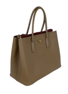 Prada Neutral Tan Leather Tote Handbag 2