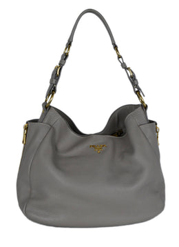 Shoulder Bag Prada Neutral Taupe Leather 1