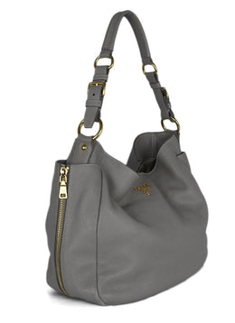 Shoulder Bag Prada Neutral Taupe Leather 2