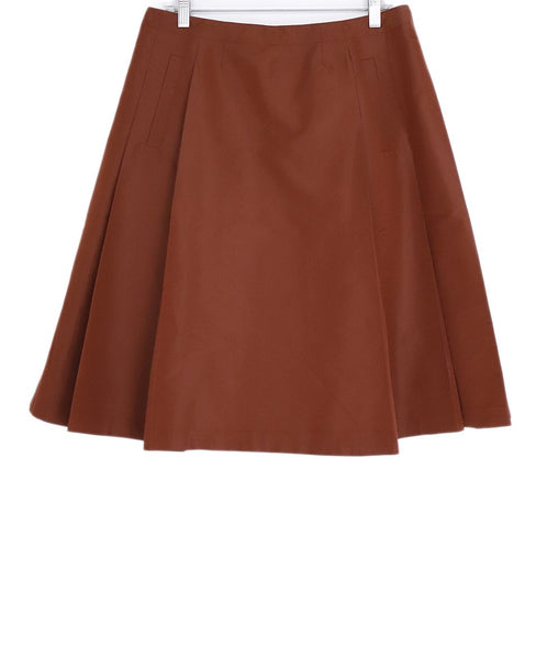 Prada Orange Rust Silk Polyester Skirt 1