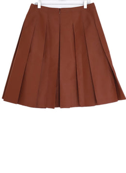 Prada Orange Rust Silk Polyester Skirt 2