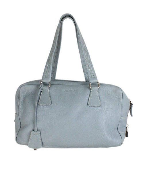 "Shoulder Bag Prada Blue Pale Leather ""as is"" W/Dust Cover Handbag 3"