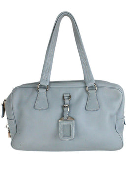 "Shoulder Bag Prada Blue Pale Leather ""as is"" W/Dust Cover Handbag 1"