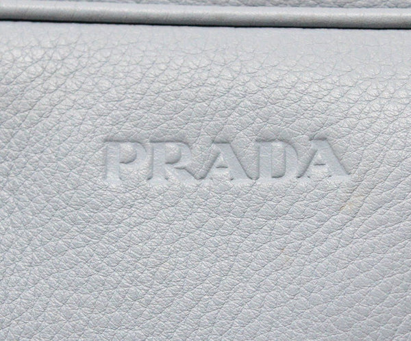 "Shoulder Bag Prada Blue Pale Leather ""as is"" W/Dust Cover Handbag 10"