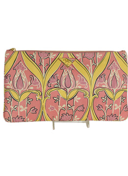 Prada Pink Yellow Print Leather Clutch Handbag | Prada