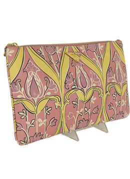 Prada Pink Yellow Print Leather Clutch Handbag 2