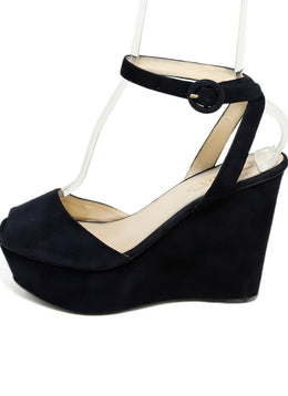 Prada Platform Blue Navy Suede Wedges 2