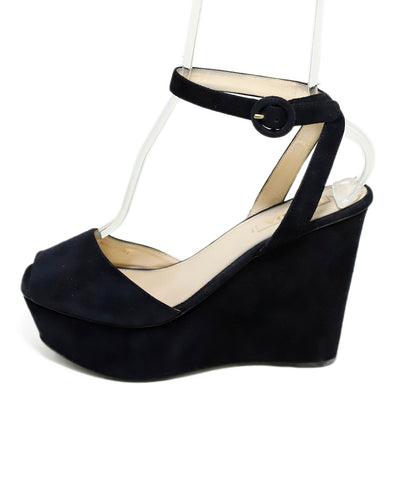 Prada Platform Blue Navy Suede Wedges 1