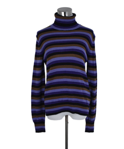 Prada Purple Black Brown Stripes Cashmere Turtleneck Sweater 1