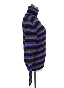 Prada Purple Black Brown Stripes Cashmere Turtleneck Sweater 2