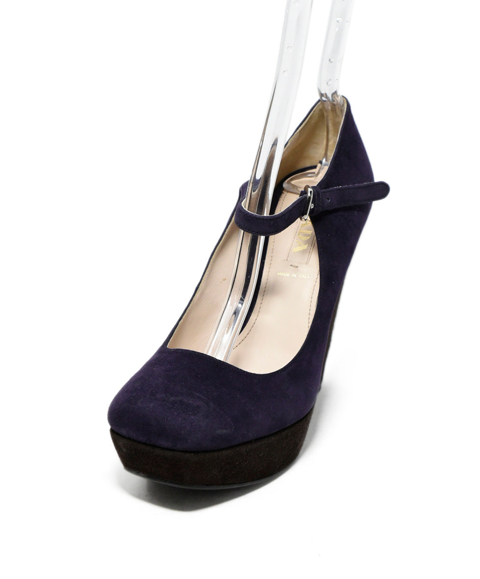 Prada Purple Brown Suede Wedges 1