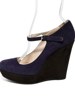 Prada Purple Brown Suede Wedges 2