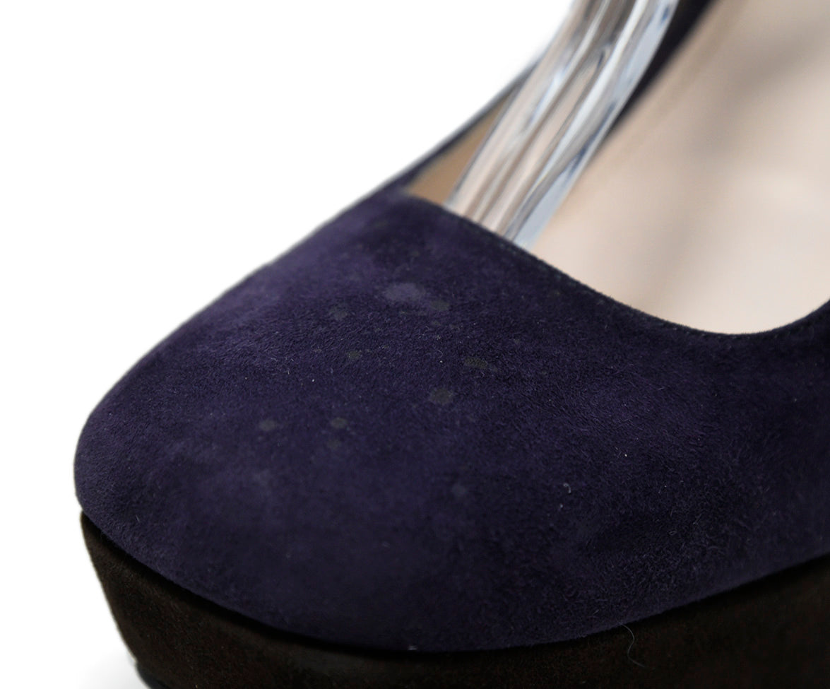 Prada Purple Brown Suede Wedges 8