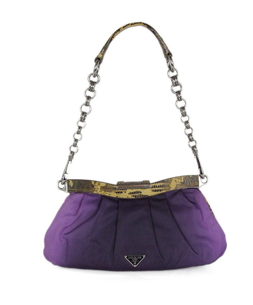 Prada purple silk lizard trim shoulder bag 1