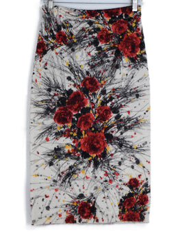 Prada Red Black Ivory Floral Wool Mohair Skirt 1