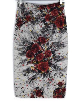 Prada Red Black Ivory Floral Wool Mohair Skirt 2