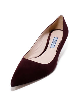 Prada Red Burgundy Suede Heels 1