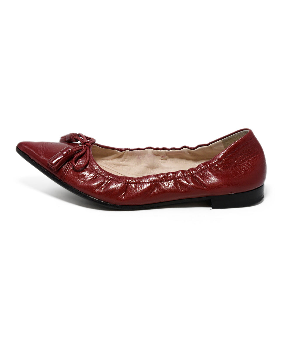 Prada Red Leather Flats 2