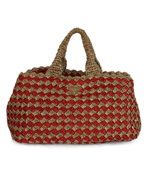 Prada red tan straw tote 1