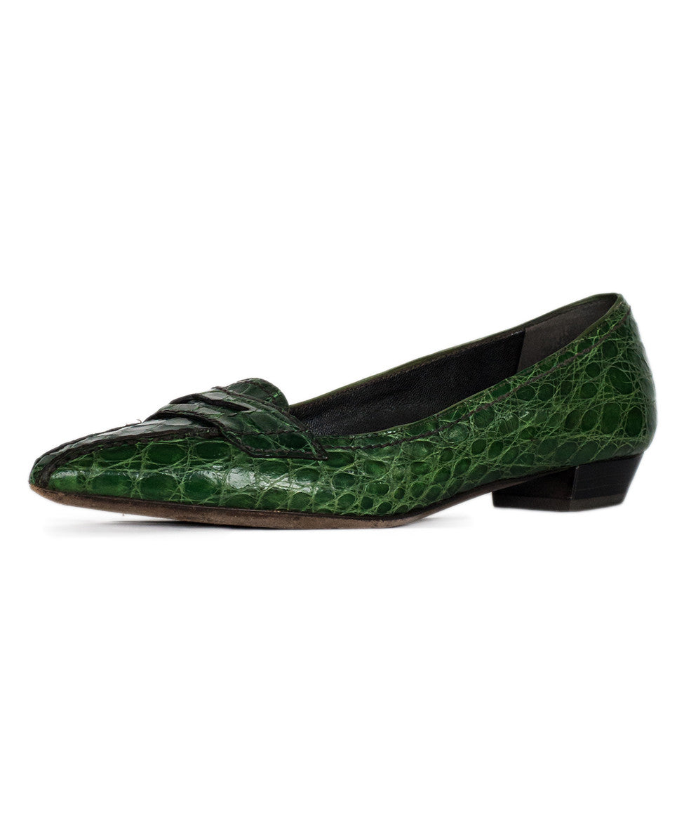 Prada Green Crocodile Loafer Flats Sz 36.5 - Michael's Consignment NYC  - 1