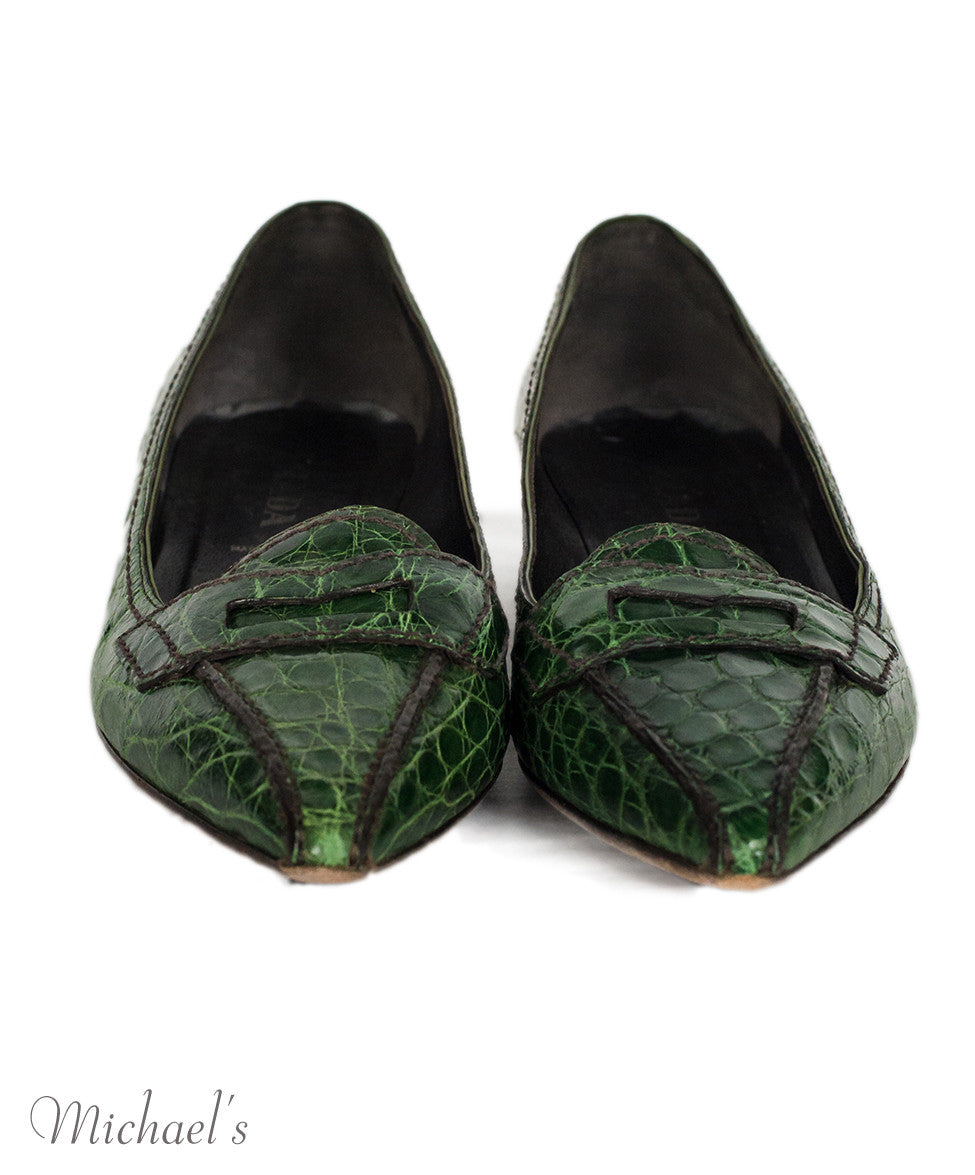 Prada Green Crocodile Loafer Flats Sz 36.5 - Michael's Consignment NYC  - 3