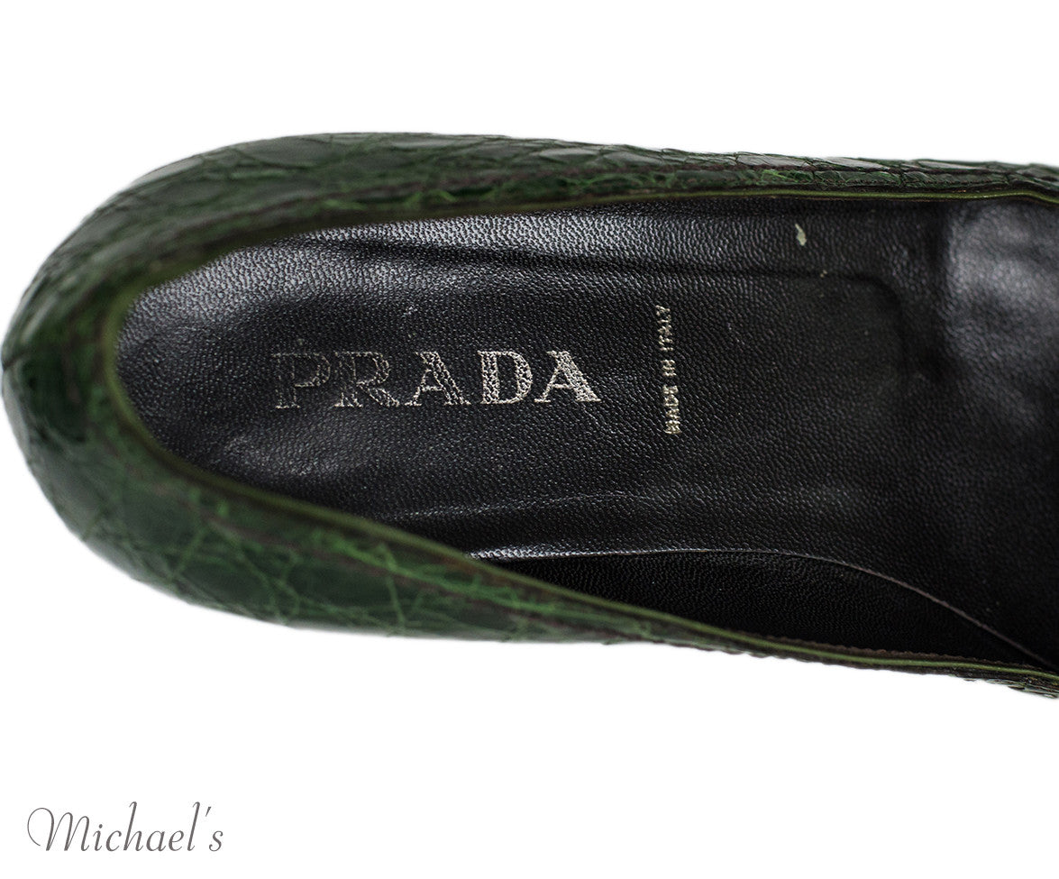 Prada Green Crocodile Loafer Flats Sz 36.5 - Michael's Consignment NYC  - 8